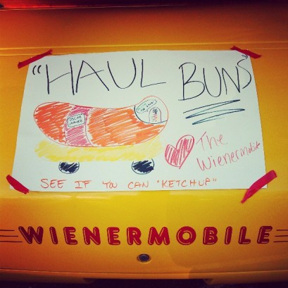 Made a pun-filled sign for the Wienermobile to encourage runners for the race. What can I say, I'm kind of a corndog!